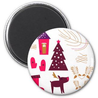 Entwurfselementweihnachten Runder Magnet 5,7 Cm