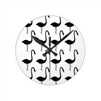 Entwurfsflamingos Schwarz-weiß Runde Wanduhr