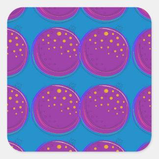 Entwurfsgranatäpfel köstliches Blau Quadratischer Aufkleber