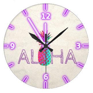 Entzückende Aloha hawaiische Ananas Große Wanduhr