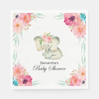 Entzückende Baby-Elefant-Mädchen-Babyparty Servietten