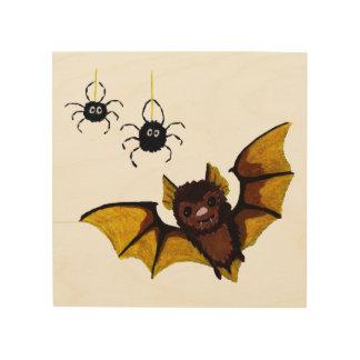 Entzückende braune Fledermaus Halloweens Mit 2 Holzwanddeko