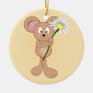 Entzückende Cartoon-Maus mit Blume Keramik Ornament