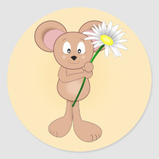 Entzückende Cartoon-Maus mit Blume Runder Aufkleber