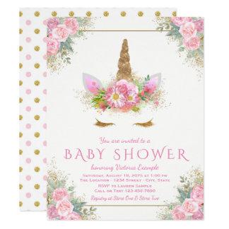 Entzückende Einhorn-Gesichts-Babyparty-Einladungen Karte