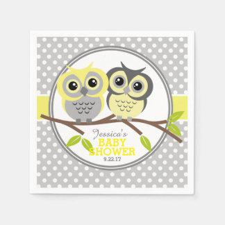 Entzückende Eulen-Babyparty Papierserviette
