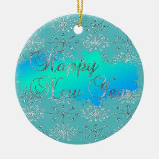 Entzückende Glittery silberne Schneeflocken Rundes Keramik Ornament