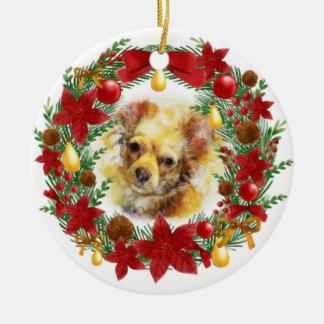 Entzückende Hundeweihnachtsverzierung Keramik Ornament
