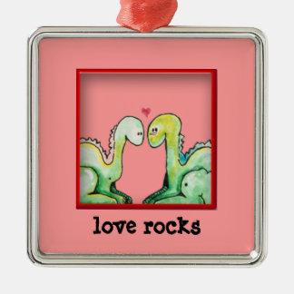 Entzückende Liebe-Felsen der Watercolor-Drache-| Silbernes Ornament