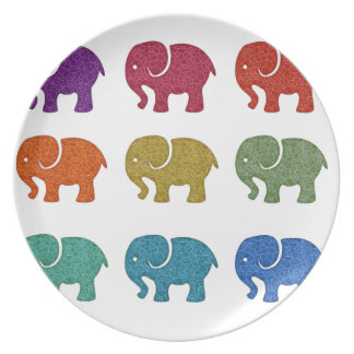 Entzückende nette bunte niedliche Elefanten Melaminteller
