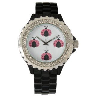 Entzückende nette niedliche girly Marienkäfer Uhr