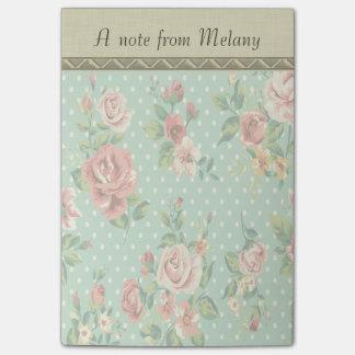 Entzückende nette Vintage Rosen personalisiert Post-it Klebezettel