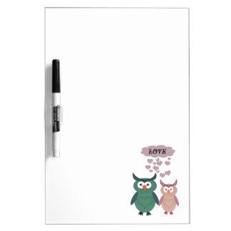 Entzückende niedliche nette Eulen-Liebepaare Trockenlöschtafel