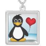 Entzückende Pinguin-Herz-Ballon-Halskette