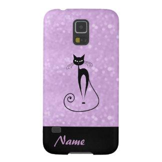 Entzückende reizend nette schwarze Katze glittery Galaxy S5 Cover