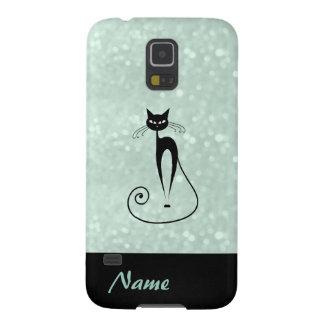 Entzückende reizend nette schwarze Katze glittery Samsung S5 Hüllen