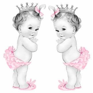 Entzückende rosa DoppelBaby-Dusche Freistehende Fotoskulptur