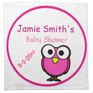 Entzückende rosa Eulen-Mama, zum Babyparty zu sein Stoff Servietten