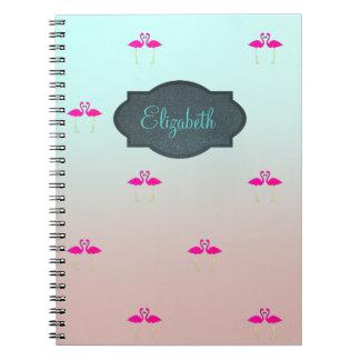 Entzückende rosa Flamingos in Notizblock