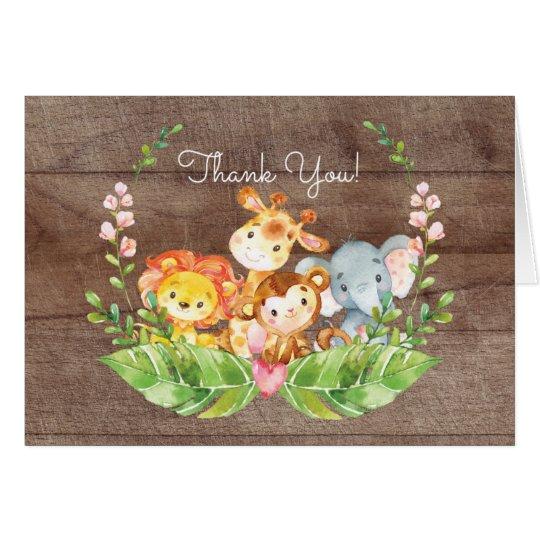 Entzückende Safari-Dschungel-Babyparty danken Mitteilungskarte