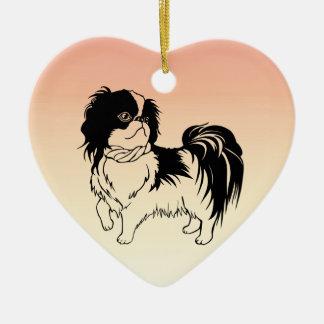 Entzückende Schwarzweiss-Hundeorangen-Verzierung Keramik Ornament