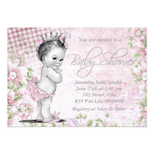 Entzückende Vintage rosa Baby-Dusche Einladungen