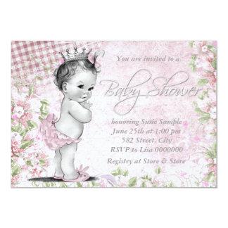 Entzückende Vintage rosa Baby-Dusche 12,7 X 17,8 Cm Einladungskarte