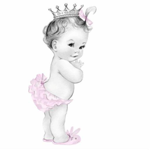 Entzückende Vintage rosa Baby-Mädchen-Dusche Photo Statuen