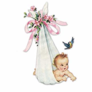 Entzückende Vintage rosa Baby-Mädchen-Dusche Freistehende Fotoskulptur
