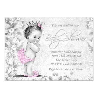 Entzückende Vintage rosa und graue Baby-Dusche 12,7 X 17,8 Cm Einladungskarte