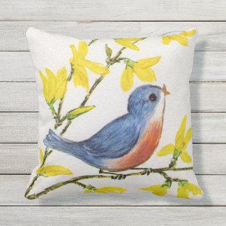 Entzückender blaues Rot-Gesang-Vogel gelbe Blumen Kissen
