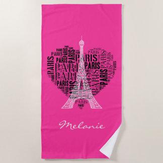 Entzückender Eiffel Turm Liebe-Paris   Strandtuch