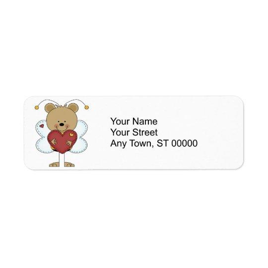 entzückender kleiner Hummelbär, der ein Liebeherz Rückversand-Adressaufkleber