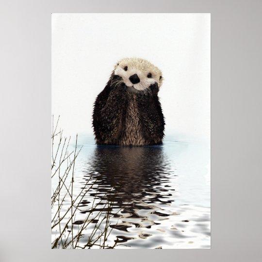 Entzückender lächelnder Otter im See Poster