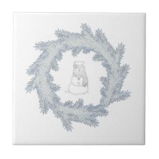 Entzückender netter Winter-Schneemann frohe Keramikfliese
