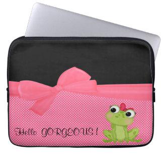 Entzückender niedlicher Frosch auf der Polka Laptop Sleeve