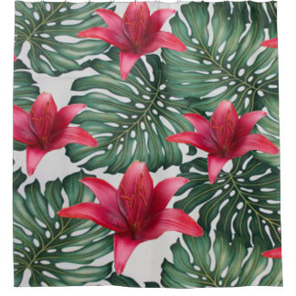 Entzückender tropischer Palmen-Hawaiianer Hibiskus Duschvorhang