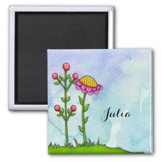 Entzückender Watercolor-Gekritzel-Blumen-Magnet Quadratischer Magnet