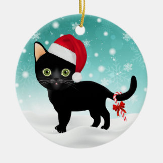 Entzückender Weihnachtsmannmütze-SchwarzesKitty in Keramik Ornament