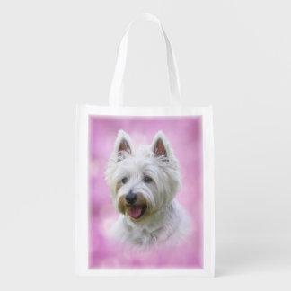 Entzückender weißer Terrier des Westhochlands Wiederverwendbare Einkaufstasche