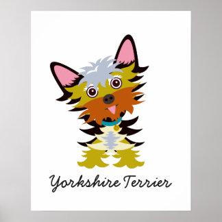 Entzückender Yorkshire-Terrier-Cartoon Poster