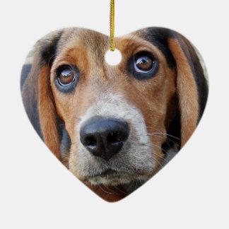 Entzückendes breites mit Augen Beagle-Welpen-Herz Keramik Ornament