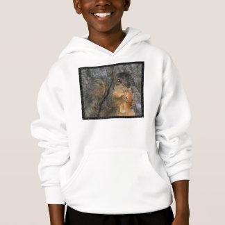 Entzückendes Fox-Eichhörnchen in einem Baum eine Hoodie