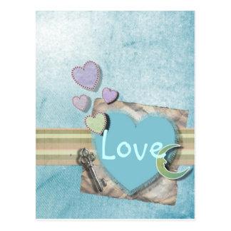 Entzückendes Herz-Jungen-Babyparty-Briefpapier Postkarte