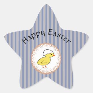 Entzückendes nettes niedliches Cartoon Ostern-Huhn Stern-Aufkleber