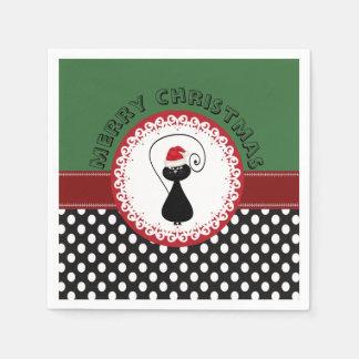 Entzückendes Polka dost lustige Weihnachtskatze Papierserviette