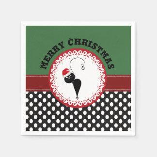 Entzückendes Polka dost lustige Weihnachtskatze Serviette