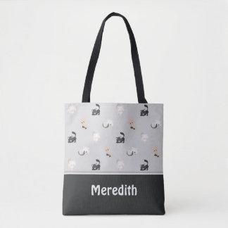Entzückendes schwarzes Grau | des Katzen-Muster-| Tasche