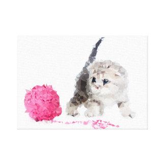 Entzückendes sonderbares Kätzchen niedliches Low Leinwanddruck