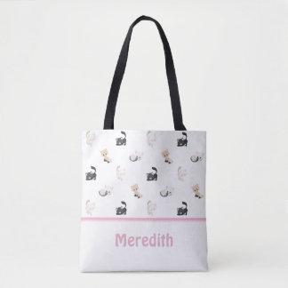 Entzückendes Weiß | des Katzen-Muster-| Tasche